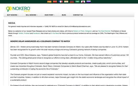 Screenshot of Press Page nokero.com - Media - Nokero Solar Lights Phone Chargers - captured Oct. 26, 2014