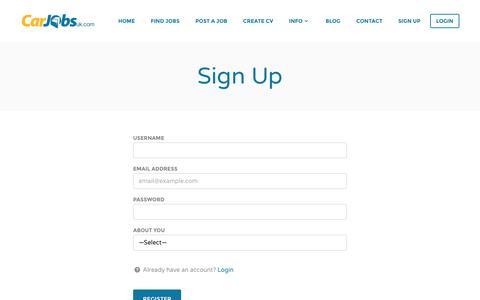 Screenshot of Signup Page carjobsuk.com - Sign Up - Car Jobs UK - captured July 11, 2016