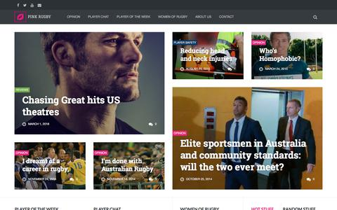 Screenshot of Home Page pinkrugby.com - Pink Rugby | THE Rugby Blog for men and women - captured July 18, 2018