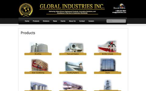 Screenshot of Products Page globalindinc.com - Products | Global Industries Incorporated - captured Oct. 3, 2014