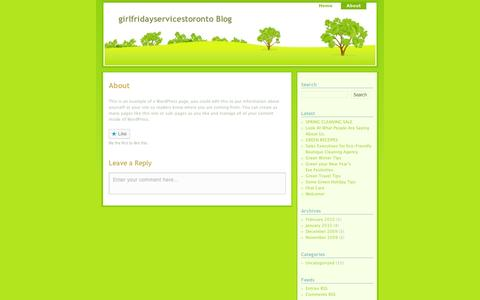 Screenshot of About Page wordpress.com - About | girlfridayservicestoronto  Blog - captured Sept. 12, 2014