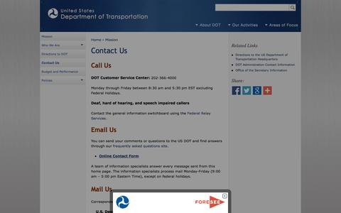 Screenshot of Contact Page dot.gov - Contact Us | Department of Transportation - captured Oct. 3, 2014