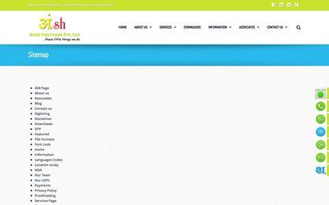 Screenshot of Site Map Page ansh.com - Sitemap - Best professional foreign language translator and translation company India - captured Nov. 21, 2016