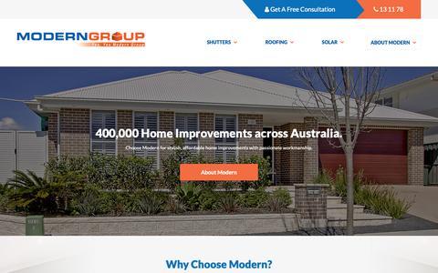 Screenshot of Home Page moderngroup.com.au - Modern Group » Australia's Home Improvement Leaders - captured Nov. 13, 2018