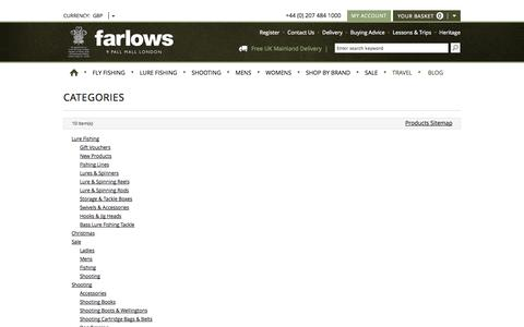 Screenshot of Site Map Page farlows.co.uk - Site Map - captured Sept. 24, 2014