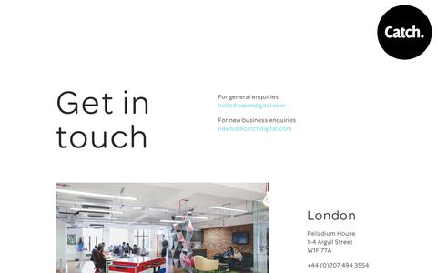 Screenshot of Contact Page catchdigital.com - Get in touch | Catch Digital: Digital Marketing Agency London - captured Nov. 1, 2018