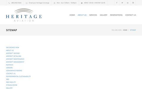 Screenshot of Site Map Page flyheritage.com - SITEMAP – Heritage Aviation Inc. - captured Nov. 7, 2016