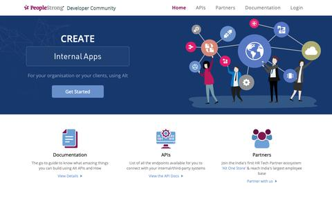 Screenshot of Developers Page peoplestrong.com - PeopleStrong Developer Community - captured June 14, 2019