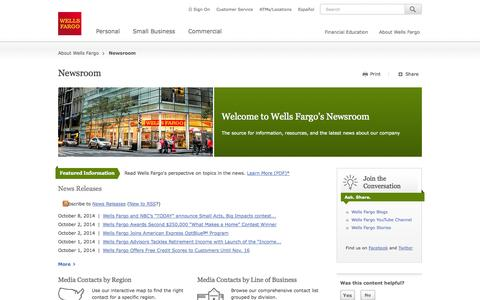 Screenshot of Press Page wellsfargo.com - Wells Fargo News – Newsroom - captured Oct. 10, 2014