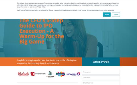 Screenshot of Landing Page certent.com - EM WP | The CFO's 5-Step Guide to IPO Execution - A Warm-Up for the Big Game - captured June 28, 2019