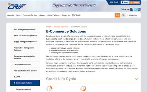Screenshot of Services Page crif.com.tr - E-Commerce Solutions - captured Feb. 12, 2020