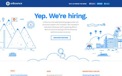 Screenshot of Jobs Page unbounce.com - Unbounce is hiring! #jobs - captured Jan. 11, 2018