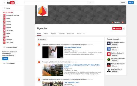 Screenshot of YouTube Page youtube.com - Tigerspike  - YouTube - captured Nov. 10, 2015