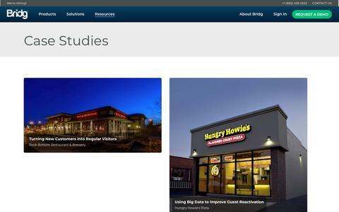 Screenshot of Case Studies Page bridg.com - Case Studies — Bridg - captured May 31, 2018