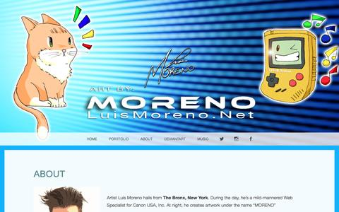 Screenshot of About Page luismoreno.net - ABOUT – The Official LuisMoreno.Net - captured Nov. 15, 2016