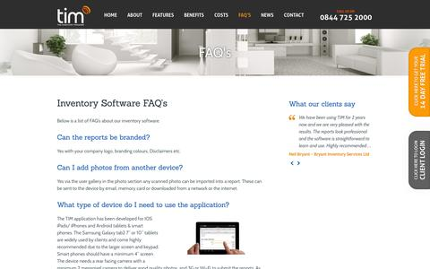 Screenshot of FAQ Page theinventorymanager.co.uk - Inventory Software FAQ's | Property Inventory App - captured Sept. 30, 2014
