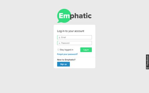 Screenshot of Login Page emphatic.co - Emphatic - An affordable social media team for every business - captured Oct. 2, 2014