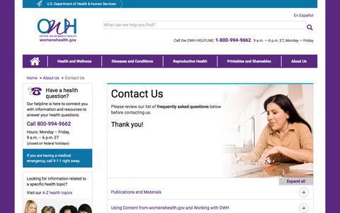 Screenshot of Contact Page womenshealth.gov - Contact Us | womenshealth.gov - captured Sept. 22, 2018