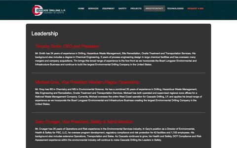 Screenshot of Team Page cascadedrilling.com - Cascade Drilling - Leadership - captured Oct. 2, 2014