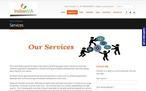 Screenshot of Services Page indianva.com - Full-Time VA| Part time Assistant|PHP Programming|Content Writing|SEO - captured June 7, 2017
