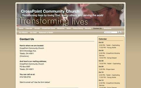 Screenshot of Contact Page icrosspoint.com - Contact Us | CrossPoint Community Church - captured Oct. 3, 2014