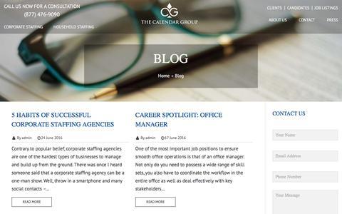 Screenshot of Blog thecalendargroup.com - Domestic & Corporate Staffing Blog| The Calendar Group - captured Aug. 14, 2016