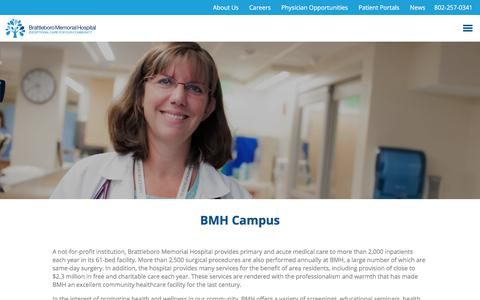 Screenshot of Services Page bmhvt.org - Services at Brattleboro Memorial Hospital - captured July 20, 2017