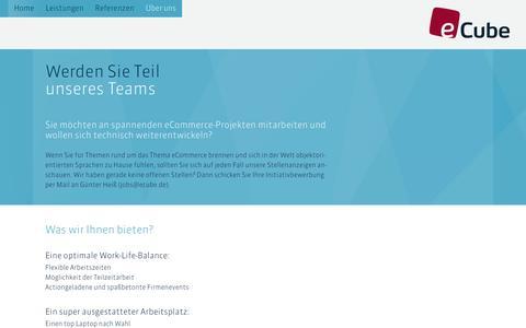 Screenshot of Jobs Page ecube.de - eCube – Enterprise Commerce - captured Jan. 20, 2016