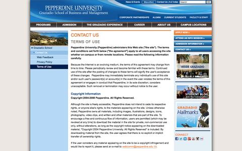 Screenshot of Terms Page pepperdine.edu - Terms of Use | Contact Us | Pepperdine University | Graziadio School of Business and Management - captured Sept. 19, 2014
