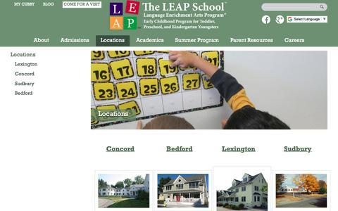 Screenshot of Locations Page leapschool.com - LEAP School Locations   The Leap School - captured Oct. 20, 2018