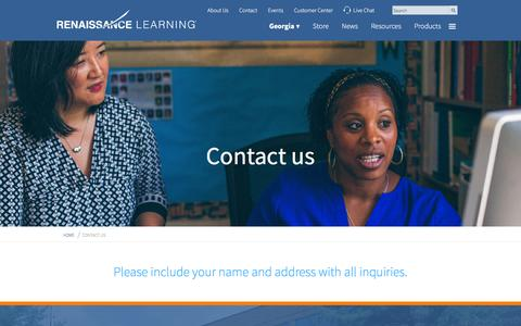 Screenshot of Contact Page renaissance.com - Contact Renaissance Learning - Contact Us - Contact Information - captured Feb. 5, 2016