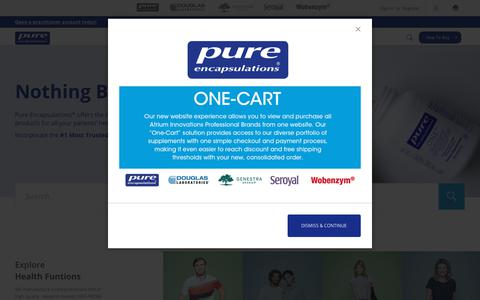 Screenshot of Home Page pureencapsulations.com - Pure Home Page - captured July 24, 2019