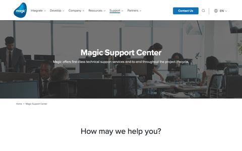 Screenshot of Support Page magicsoftware.com - Magic Support Center | Magic Software - captured Nov. 3, 2018
