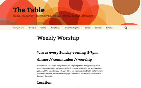 Screenshot of Home Page thetable.cc - Weekly Worship - The Table - captured Feb. 28, 2016