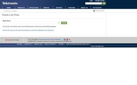 Screenshot of Pricing Page tek.com - Check List Price | Tektronix - captured Oct. 26, 2014