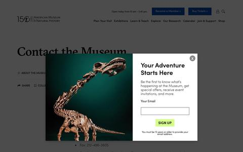 Screenshot of Contact Page amnh.org - Contact Us | American Museum of Natural History - captured March 26, 2019