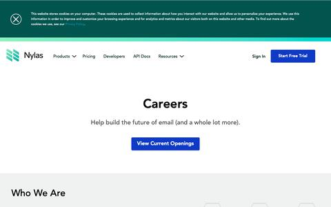 Screenshot of Jobs Page nylas.com - Nylas Careers | Build the Email API, Calendar API, and Contacts API of the future - captured Feb. 10, 2019