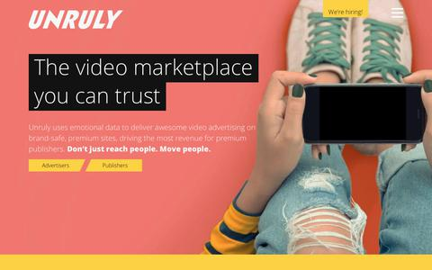 Screenshot of Home Page unruly.co - Video ads from Unruly | Data-powered video marketplace you can trust - captured March 18, 2019