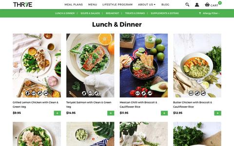 Screenshot of Menu Page thr1ve.me - Fresh Ready Meals Delivered To You | THR1VE - captured Jan. 29, 2019