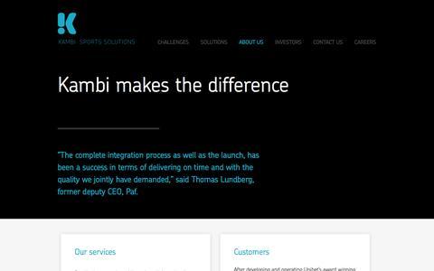 Screenshot of About Page kambi.com - KAMBI / About us  / - captured Sept. 18, 2014