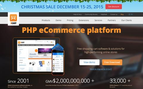 Screenshot of Home Page x-cart.com - Free PHP shopping cart software for e-commerce web-sites - X-Cart - captured Dec. 17, 2015