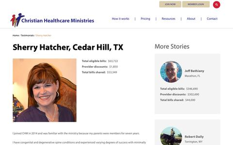 Screenshot of Testimonials Page chministries.org - Cedar Hill, TX              | Christian Healthcare Ministries - captured May 16, 2019