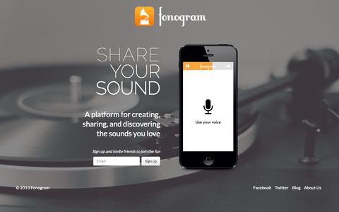 Screenshot of Home Page fonogram.co - Fonogram App | Sound Lives. Share Yours. - captured Sept. 30, 2014