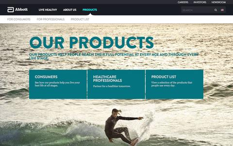 Screenshot of Products Page abbott.com - Our Products - captured Sept. 7, 2016