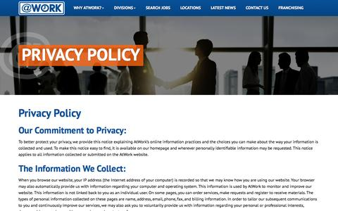 Screenshot of Privacy Page atwork.com - Privacy Policy - captured Feb. 15, 2016
