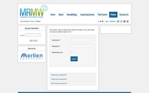 Screenshot of Login Page mrmw.net - Videos - captured March 8, 2016