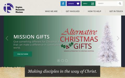 Screenshot of Home Page vmmissions.org - Making disciples in the way of Christ. - Virginia Mennonite Missions - captured Dec. 3, 2016