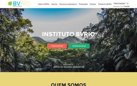 Screenshot of Home Page bvrio.org - Instituto BVRio | Bolsa de Valores Ambientais - captured Jan. 31, 2016