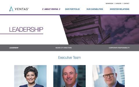 Screenshot of Team Page ventasreit.com - Leadership | Ventas - captured Oct. 5, 2019