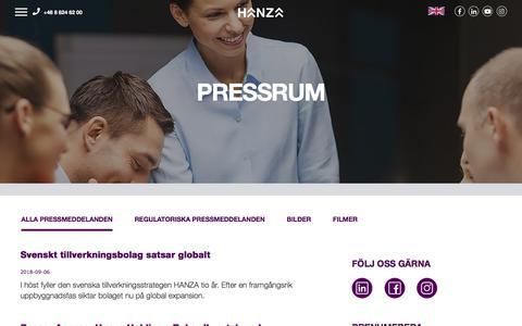 Screenshot of Press Page hanza.com - Press - Hanza Group - captured Sept. 25, 2018